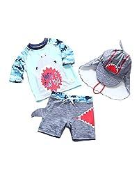Achiyi Baby Toddler Boy 2 Piece Swimsuits Surfing Suits Beach Swimwear UPF50+ Sun Protection Shark Rash Guard with Sunhat