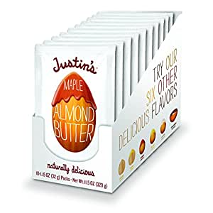 Justin's Maple Almond Butter Squeeze Packs, Gluten-free, Non-GMO, Responsibly Sourced, Pack of 10 (1.15oz each)