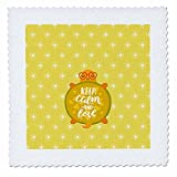 3dRose Uta Naumann Watercolor Illustration Animal - Turtle Children Illustration and Typography - Keep Calm and Love - 25x25 inch quilt square (qs_267036_10)