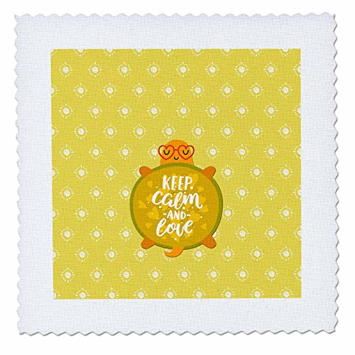 3dRose Uta Naumann Watercolor Illustration Animal - Turtle Children Illustration and Typography - Keep Calm and Love - 25x25 inch quilt square (qs_267036_10) by 3dRose