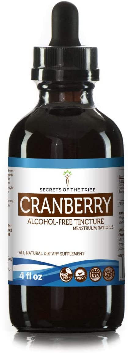 Cranberry Alcohol-Free Liquid Extract, Organic Cranberry Vaccinium Macrocarpon Dried Berry Tincture Supplement 4 FL OZ