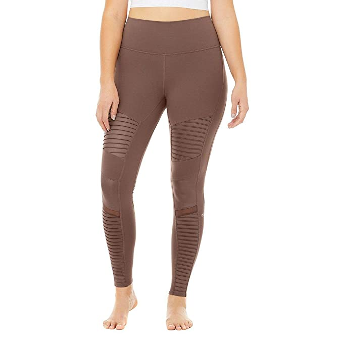 3f57a362c1122 ALO Women's High Waisted Moto Leggings Coco/Coco Glossy X-Small 28