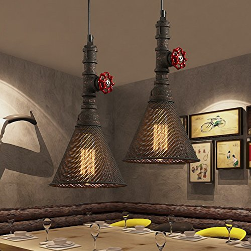 BAYCHEER HL416404 Industrial Retro Vintage style Mini Water Pipe Suspension Pendant Light Lampe Chandelier with Metal Mesh in Mottled Rust Finish use E26/27 - Bulbs Rust 3 Finish