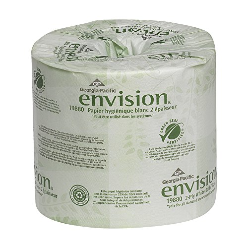Georgia-Pacific Envision 19880/01 2-Ply Embossed Bathroom Tissue, 4.05' L x 4' W, White, 4 Rolls...