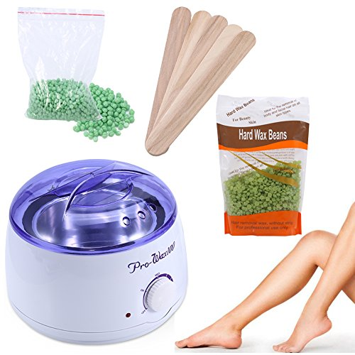 - 500ml Adjustable Temperature Wax Heater + 100g Green Apple and 300g Tea Tree Hard Wax Beans Hair Removal Tool Kits Used for Facial Armpits Hands Legs Bikini Line Depilatory