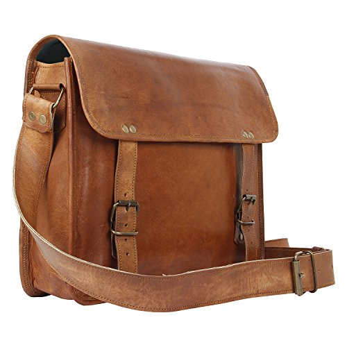 Leather Vintage Rustic Crossbody Messenger Courier Satchel Bag Gift Men Women ~ Business Work Briefcase Carry Laptop Computer Book Handmade Rugged  D…