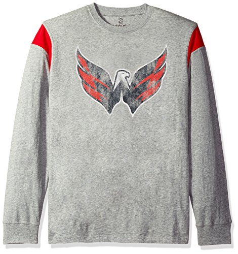 Nhl Washington Capitals Mens Receiver Long Sleeve Slub Jersey Top  Large  Heather Grey Red