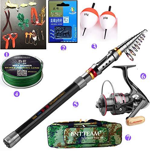 BNTTEAM 5 PACKS 2.1m,2.4m,3.0m 99% Carbon Telescopic Fishing Rod & 11BB...