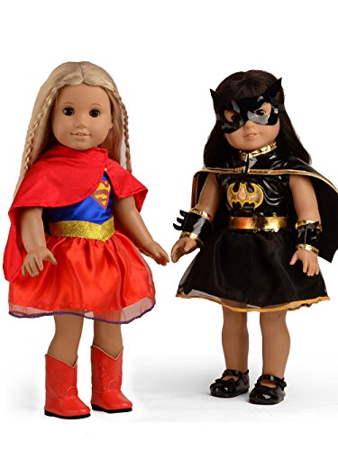 Doll Clothes Hero Costume Supergirl and Batgirl Outfits Fit 18 inch American Girl Dolls -