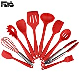 TOKINGSUN Silicone Kitchen Utensils Set, Durable Cooking tools with Hygienic Solid Coating Heat Resistant 10 pieces