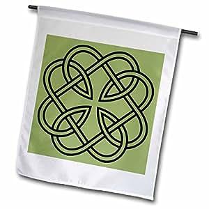 Anne Marie Baugh Celtic Designs - Black Celtic Design on A Moss Green Background - 12 x 18 inch Garden Flag (fl_44274_1)
