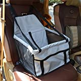 WOpet® Deluxe Portable Pet Dog Car Booster Seat with Clip-On Safety Leash and Zipper Storage Pocket