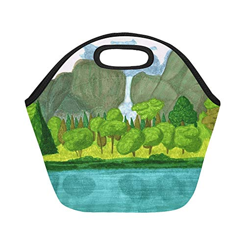 Nature Zone Box (Insulated Neoprene Lunch Bag Landscape Drawing Nature Cascade Water Large Size Reusable Thermal Thick Lunch Tote Bags For Lunch Boxes For Outdoors,work, Office, School)