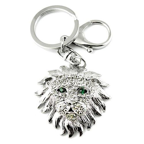 Rhinestone Ring Silver Plated Key - Silver Tone Rhinestone Lion Design Keychain Charm