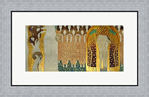 Beethoven Frieze Klimt (The Final Chorus Of Beethoven's 9th Symphony, Detail Of ''The Beethoven Frieze'', 1902 by Gustav Klimt Framed Art Print Wall Picture, Flat Silver Frame, 25 x 16 inches)