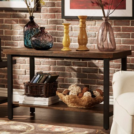 Weston Home Hebron Sofa Table, Stylish and Functional Sofa Table (Brown) by Generic