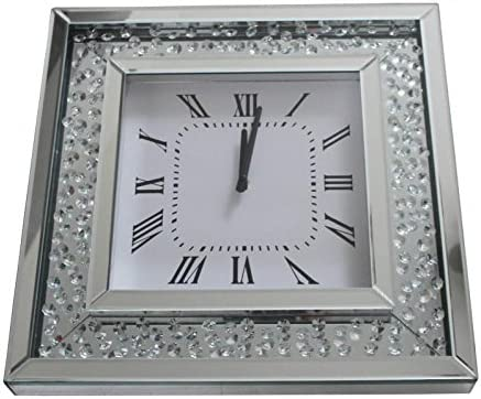 Sassy Home Mirrored Floating Crystal Diamante Square Wall Clock