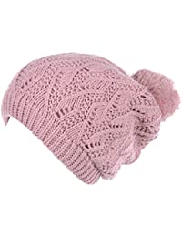 c37012d2589a0 Womens Winter Cute Warm Plush Fleece Lined Leafy Knitted Beret Beanie Hat  with Pom