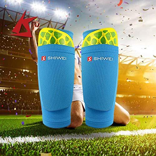 loonBonnie C/ómodo Soporte para espinilleras de f/útbol Calcetines con Empeine Deportivo Calcetines de f/útbol de Nylon Transpirable Bloqueo de Mangas Azul