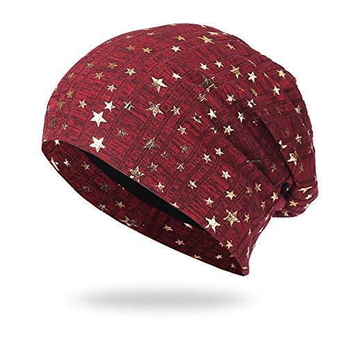 Sttech1 Winter Cap, Men Women Star Warm Crochet Knit Ski Beanie Skull Slouchy Caps Hat (Red)