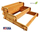 Timberlane Gardens Raised Bed Kit 3 Tiered (1×3 2×3 3×3) Western Red Cedar Elevated Planter with Mortise and Tenon Joinery 3 Feet x 3 Feet