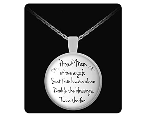Amazon.com: Proud Mom of Two Angels Quote on Necklace for ...