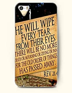 iPhone 5 5S Case OOFIT Phone Hard Case ** NEW ** Case with Design He Will Wipe Every Tear From Their Eyes. There Will Be No More Death Or Mourning Or Crying Or Pain For The Old Order Of Things Has Passed Away Rev 21:4 - Bible Verses - Case for Apple iPhone 5/5s