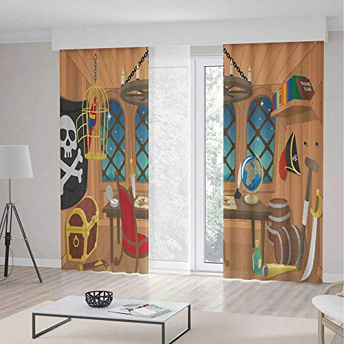 Blackout Curtains,Pirate,Window Drapes for Bedroom Living Room Deco,Cabin of a Pirate Captain Parrot in Cage Jolly Roger Treasure Chest Liquor Barrels,Theme,Living Room Bedroom Window Drapes,2 Panel S