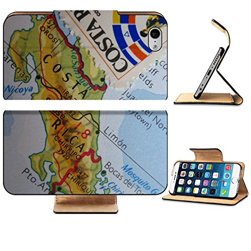 Luxlady Premium Apple iPhone 6 iPhone 6S Flip Pu Leather Wallet Case Image ID 3669799 Vintage map of Costa Rica with Stamp