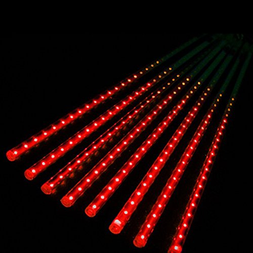 Mimgo Store 50cm 8 Tube 240 LEDs Red Multi-color Meteor Shower Rain Lights Waterproof String for Wedding Party Christmas Xmas Decoration Tree