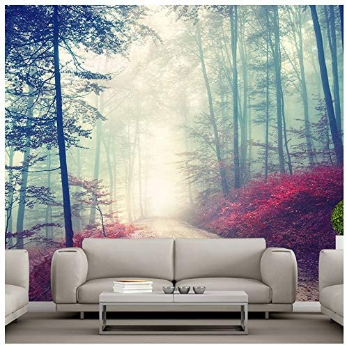 Azutura Magical Red Road Wall Mural Misty Forest Tree Photo Wallpaper Living Room Decor Available In 8 Sizes Gigantic Digital Amazon Ca Home Kitchen