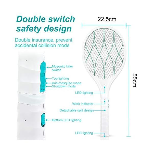 Homealexa Racchetta Zanzare Elettrica USB Ricaricabile Anti Insetti Elettrico 4000V con LED Torcia Elettrica Manico… 3 spesavip