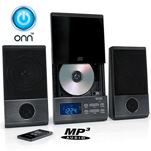 ONN Audio Compact Home CD Music Shelf System Vertical-loading with Stereo Dynamic Speakers & Digital AM/FM Radio LCD Display & Aux Line in ONA-503 (Refurbished)