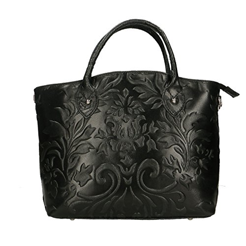 Chicca Borse Handbag Borsa a Mano da Donna in Vera Pelle Made in Italy - 35x28x11 Cm Nero