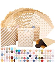 125 Pcs Kraft Paper Bags with 160 Pcs Stickers, Small Kraft Paper Gift Bags for Chocolate Cookies Christmas Wedding