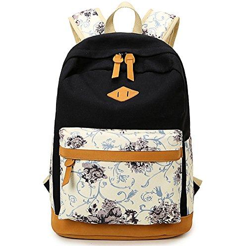 adolescentes niñas Flor portátil para lona bolso ligera escolar impresa Casual Negro mochila mochilas vPqRxvTr