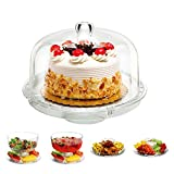 6 in 1 Cake Stand, Alotpower Clear Acrylic Dome Lid Salad Plate Multifunctional Dessert Fruit Stand with Removal Dome