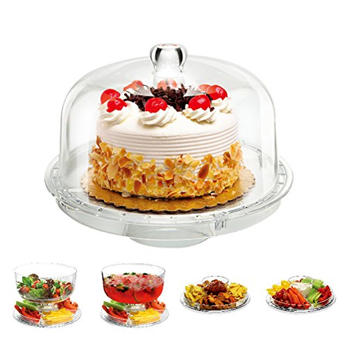 6 In 1 Cake Stand, Alotpower Multifunctional Acrylic Cake Stand Serving Platter Salad Plate Dessert Fruit Stand with Removal Dome Lid (Garden Crystal Footed Cake Plate)