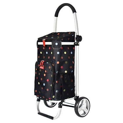 Trolley de compras negro sobre ruedas Ligero 2 ruedas Bolsa de trolley de compras de gran ...