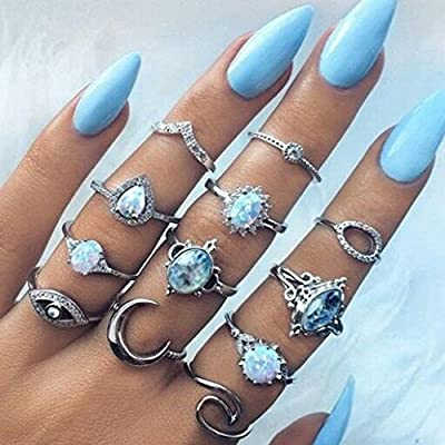 12 Pcs Vintage Women Ring Set Daoroka Bohemian Starfish Rhinestone Joint Knuckle Nail Midi Ring Set Wedding Retro Jewelry