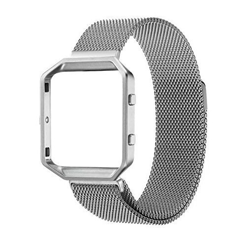 For Fitbit Blaze Band, Wearlizer Milanese Loop Watch Band Replacement With Metal Frame Stainless Steel Bracelet Strap for Fitbit Blaze - Silver Large