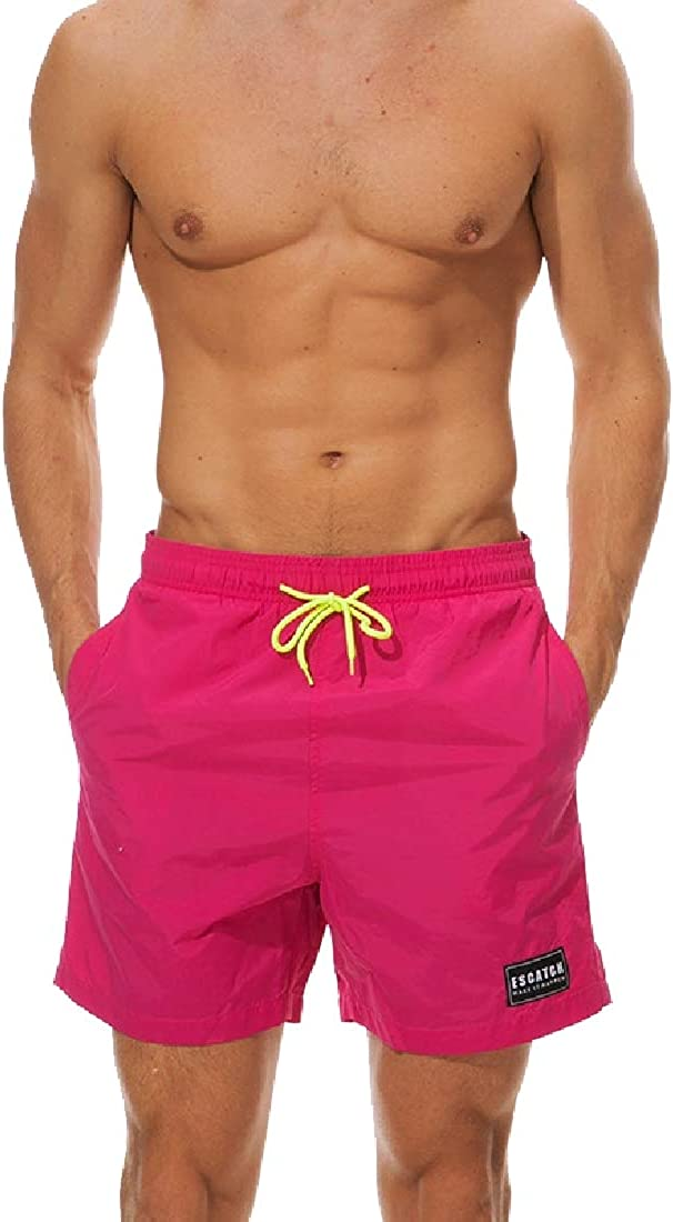 Comaba Men Workout Waterproof Beach Trousers Quick-Drying Solid Color Short