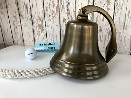 """7"""" Antique Brass Finish Ship Bell w/Lanyard & Bracket ~ Nautical Maritime Wall for Home Decor Collection"""