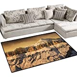 Mountain,Carpet,Surreal Saturated Photo of The Italian Twin Mountain Peaks with Silent Overcast Sky,Print Area Rug,Sepia,48''x70''