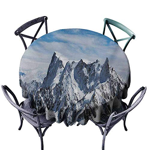 VIVIDX Tablecloth for Kids/Childrens,Landscape,Picturesque Mont Blanc Cliff to Clouds Idyllic Environment Trekking Landmark,for Banquet Decoration Dining Table Cover,43 INCH,White Blue