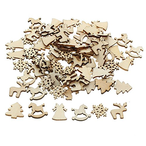 (100Pcs Natural Color Tree Snowflake Wooden Ornament Scrapbooking Embellishments Christmas Home Party Decor Wood Craft 20-22mm by iDONO)