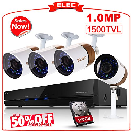 ELEC 4CH 960H HDMI DVR Security Camera System 4 Channel Outdoor CCTV Video Recorder Surveillance System,Night Vision IR Cut,Mobile Phone Remote View