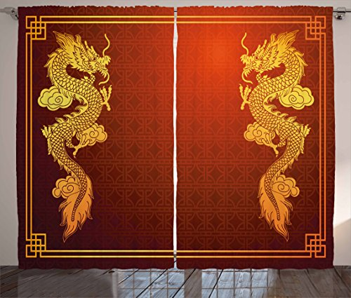 Ambesonne Dragon Curtains, Chinese Heritage Historical Asian Eastern Motif with Legendary Creature Design, Living Room Bedroom Window Drapes 2 Panel Set, 108 W X 63 L inches, Orange Yellow