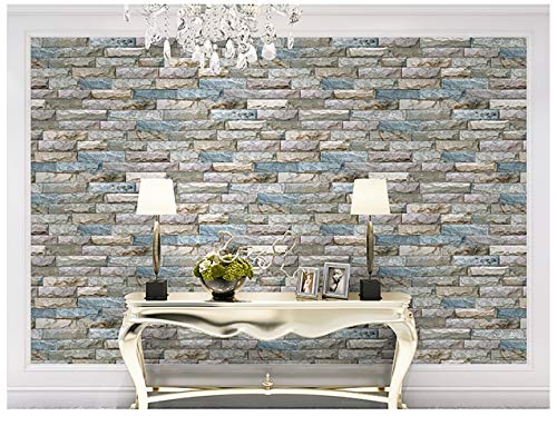 3D Solid Marble Wallpaper Imitation Culture Stone Simple Modern TV Background Wall Brick Brick Wallpaper (Color : Sapphire blue) (Imitation Stone)