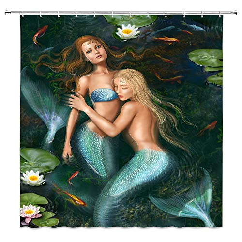Mermaid Koi - jingjiji Mermaid Shower Curtain Fantasy Fairy Tale Sexy Woman Fish Scale Lotus Pond Koi Japanese Bathroom Decoration Curtains Polyester Fabric Waterproof with Hook 70 X 70 Inch Blue Green